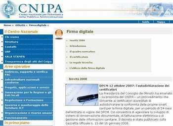 la pagina del CNIPA dedicata alla firma digitale