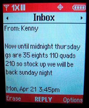 Uno degli SMS galeotti