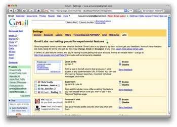 Il nuovo Gmail Labs