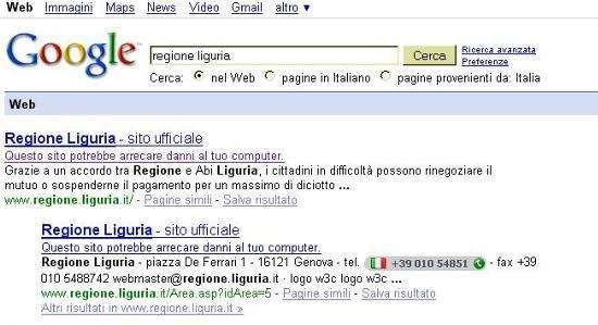 l'avviso di Google