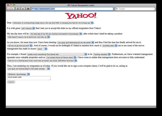 La finta lettera di dimissioni per Yahoo!