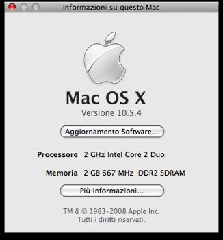 La schermata che mostra la release number di Leopard