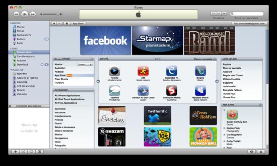 Il nuovo iTunes con App Store