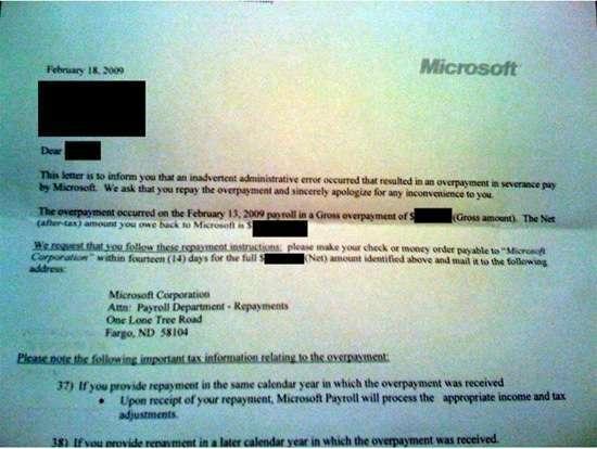 La lettera inviata dai microsoft agli ex-dipendenti