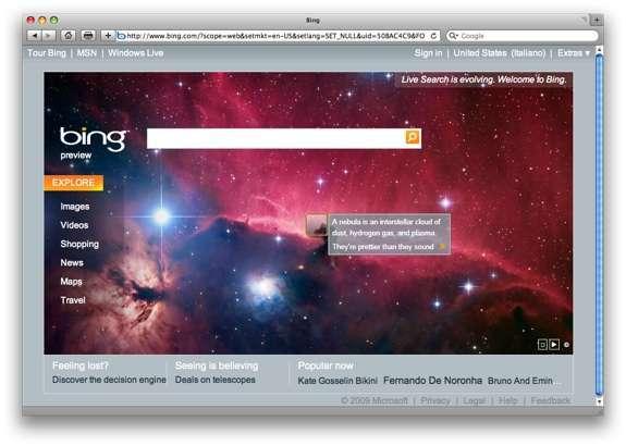 La nuova homepage di Bing