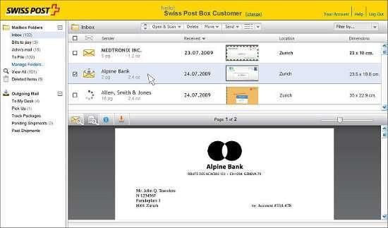 screenshot del servizio