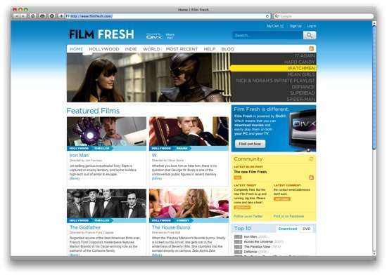 l'homepage di Fresh Film