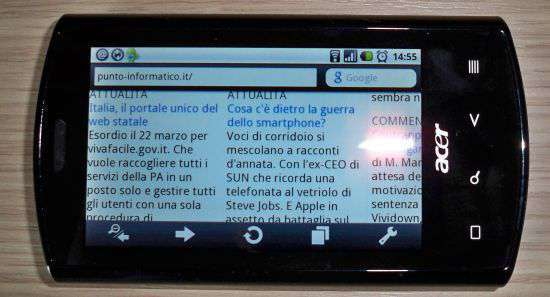 Opera Mini 5 beta su Acer Liquid