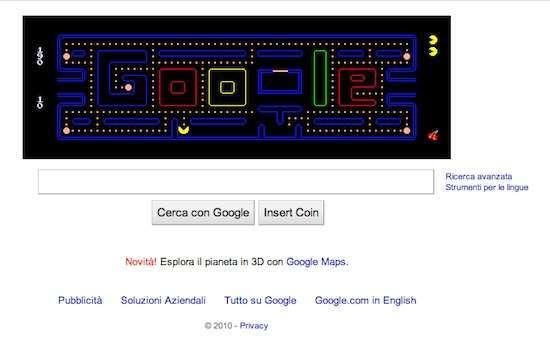 una schermata del doodle su pacman