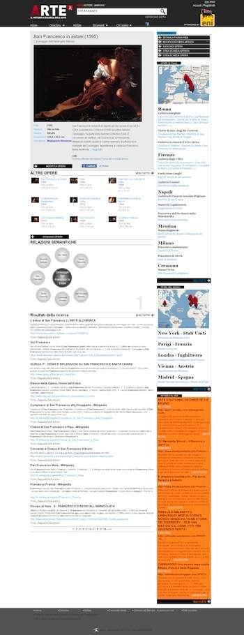 esempio di pagina dei risultati, tratto da arte.it