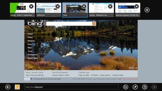 La developer preview di IE10 in versione Metro Style