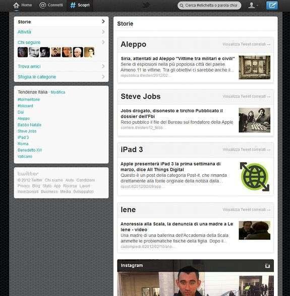 la nuova pagina scopri di Twitter