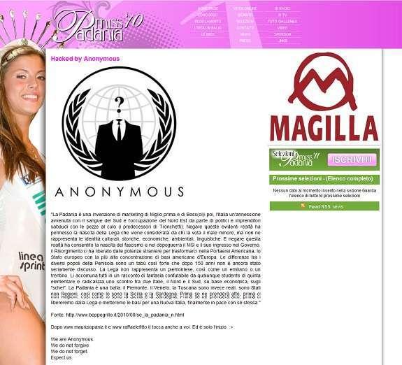 la pagina oggetto di defacement sul sito di miss padania