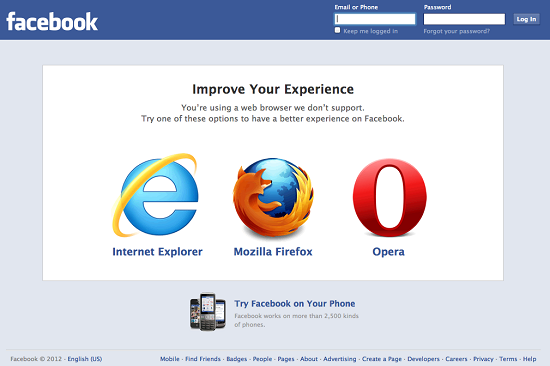 facebook non supporta Chrome