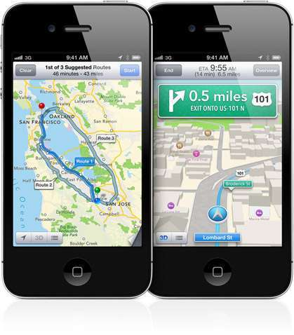 navigazione turn by turn di iOS 6