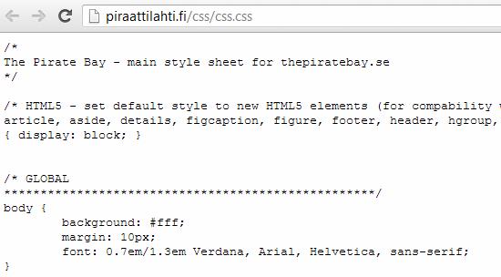 il codice del foglio di stile