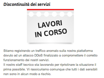 l'avviso sulla homepage di register.it