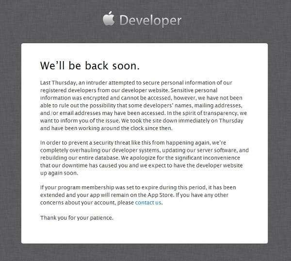 l'avviso sul sito sviluppatori di apple