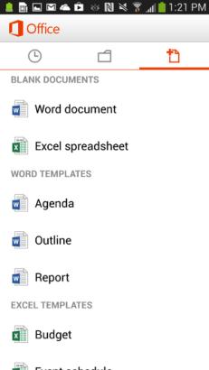 schermata office mobile per android