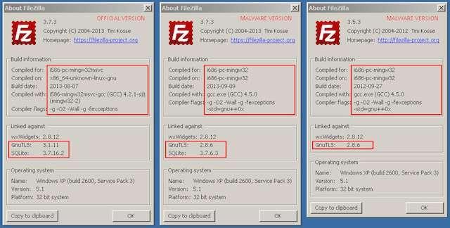 confronto tra le versioni di filezilla originali e modificate