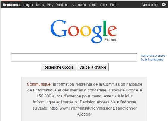 La homepage di Google.fr