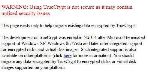 Il messaggio sul sito di TrueCrypt