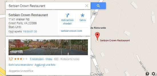 Il ristorante sulle mappe di Google