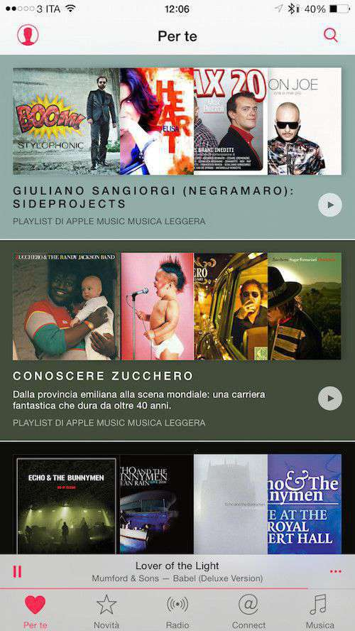 Apple Music, tab Per Te