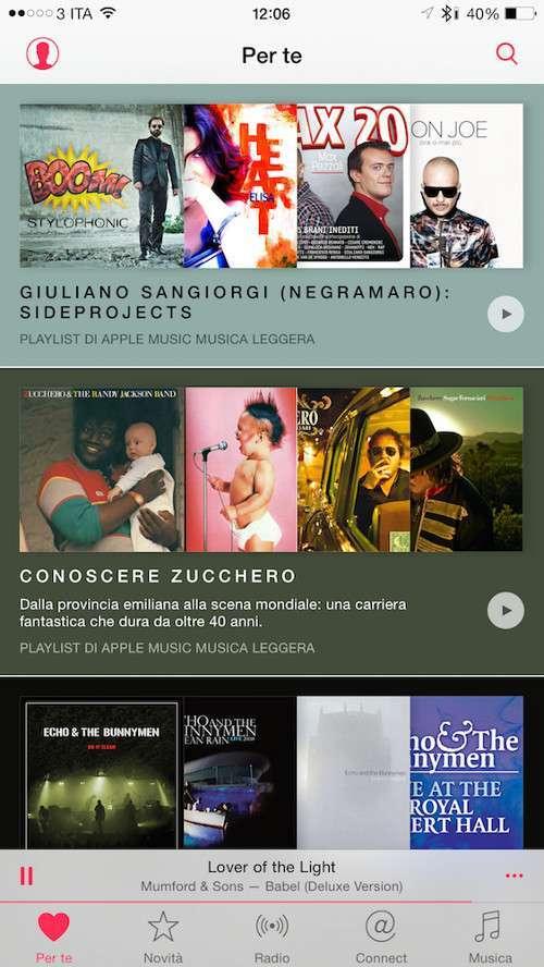 Apple Music, tab Per Te