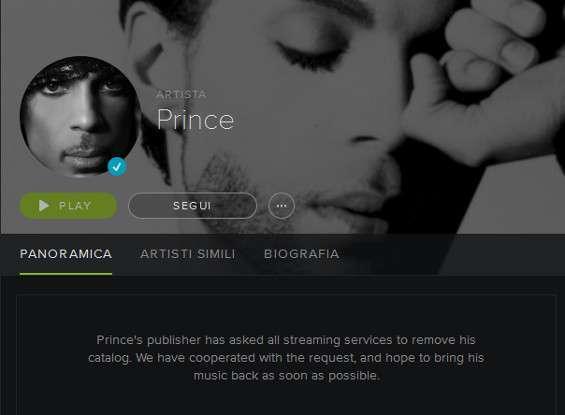 La pagina Spotify di Prince