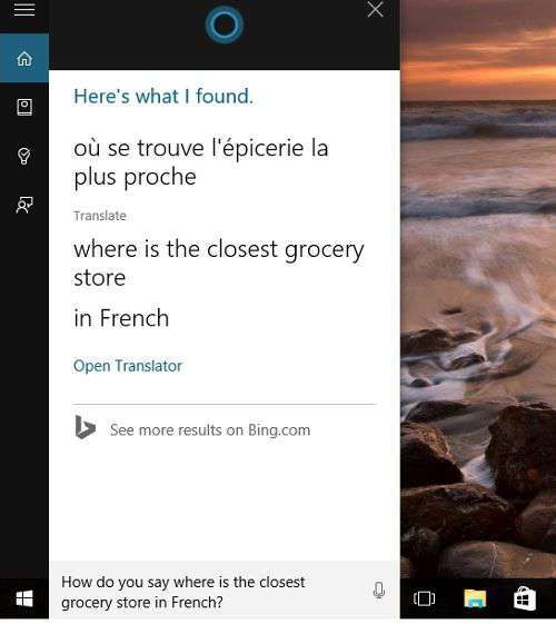 Cortana e traduzione