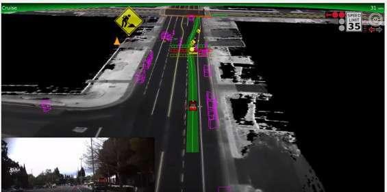 La strada ricostruita da una driverless car Google