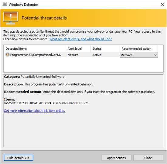 Rimozione certificato Dell