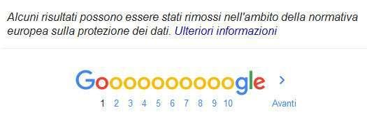Google e diritto all'oblio