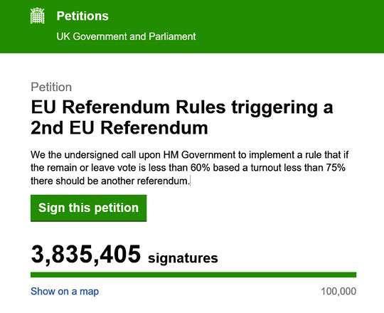 La petizione per ripetere il referendum che ha sancito la brexit