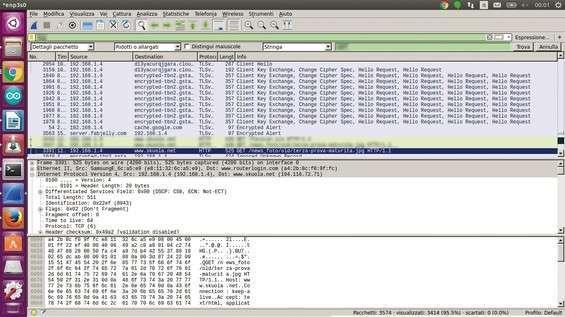 Wireshark in azione durante l'analisi di una rete senza fili