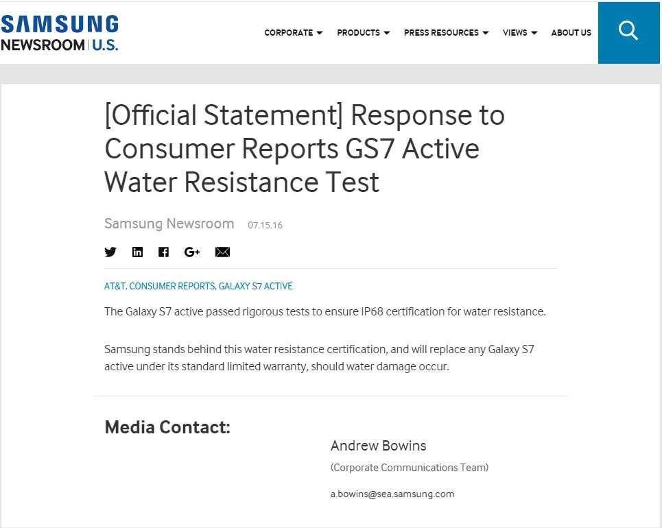 Samsung: il Galaxy S7 Active resiste all'acqua