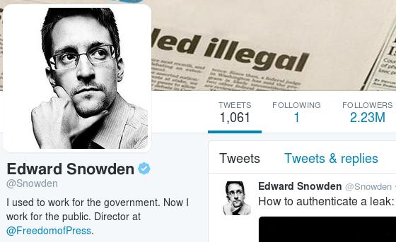 La famosa spunta sul profilo di Edward Snowden
