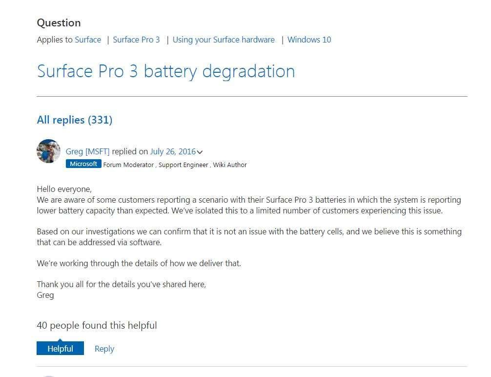Autonomia Microsoft Surface Pro 3