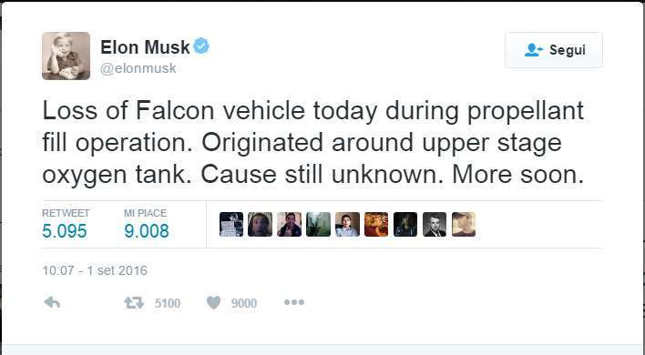 Tweet di Elon Musk