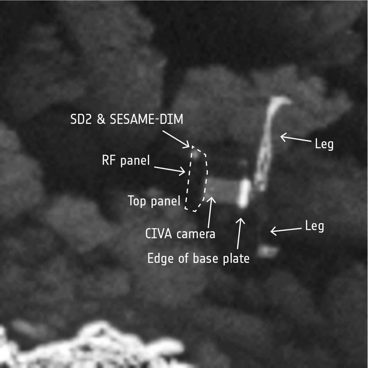 Immagine di Philae catturata da Osiris, la camera ad alta risoluzione a bordo della sonda Rosetta