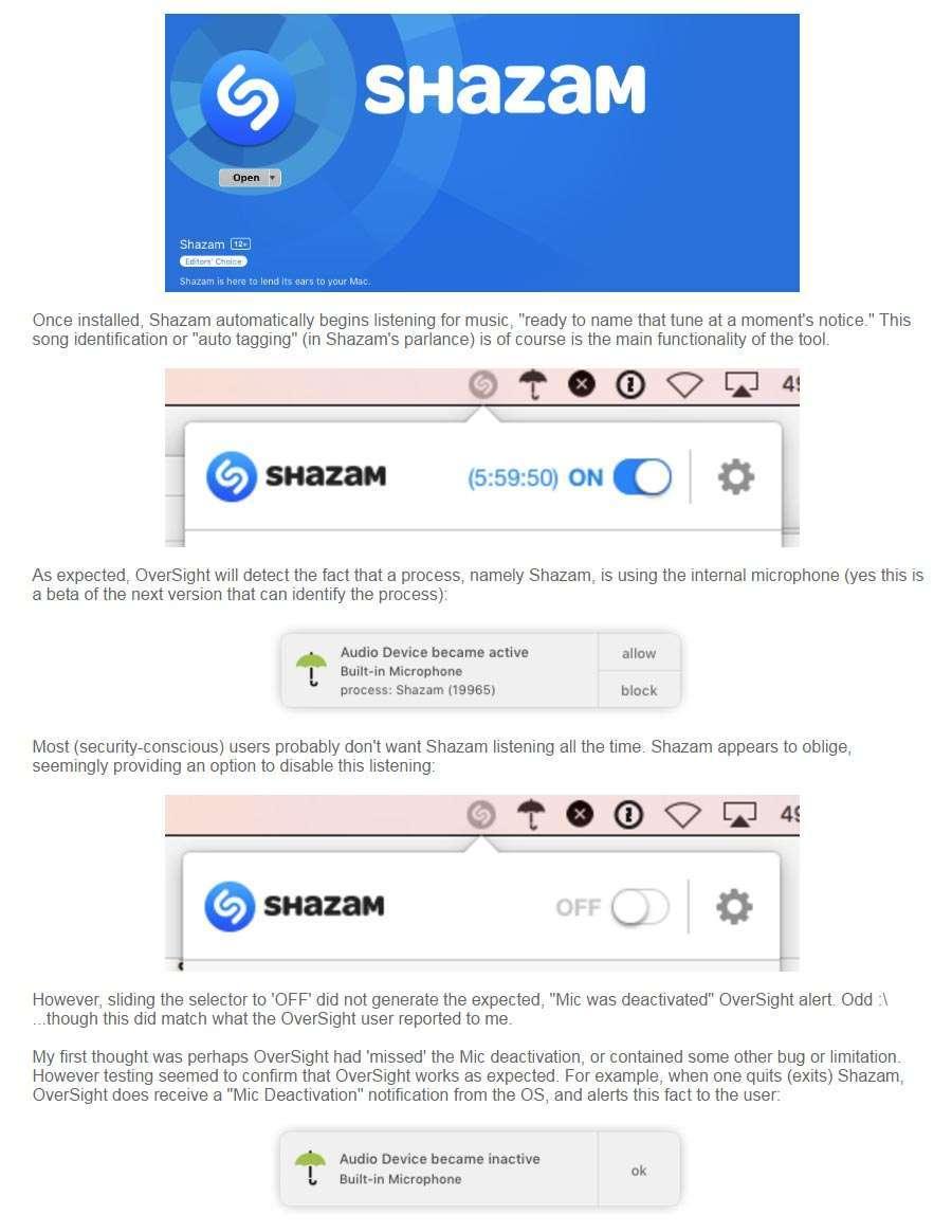 App Shazam e OverSight