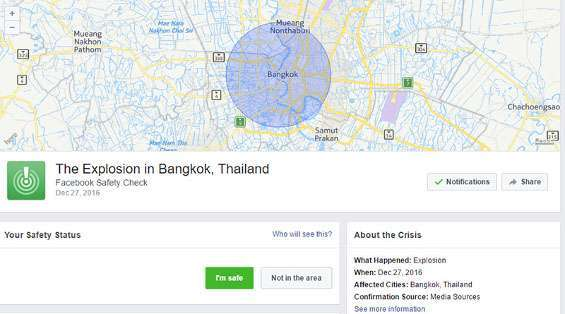 Facebook Safety Check a Bangkok