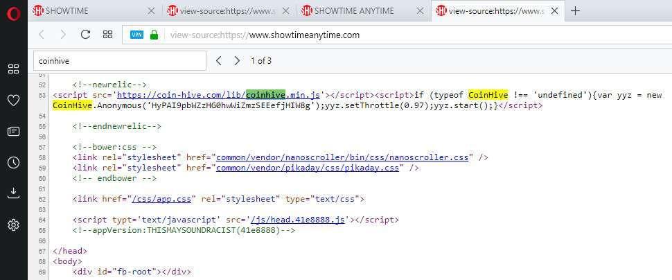 codice sorgente showtime